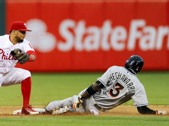 Miami's Adeiny Hechavarria, right, steals second base ahead of a tag from Philadelphia second baseman Cesar Hernandez during the fourth inning of Friday's game in Philadelphia. The Phillies snapped a five-game losing streak with a 6-3 win.