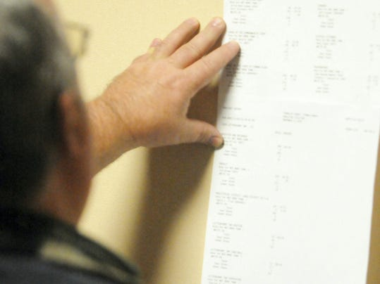 A man checks election results posted Tuesday night at the Franklin County Annex, Chambersburg.