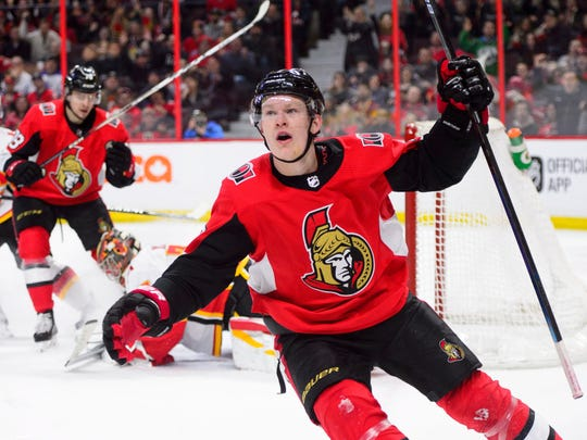 The Senators took Brady Tkachuk with the 4th overall pick last year. The 19-year-old had 16 goals and 20 assists going into Sunday's games.