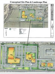 A site plan proposed for new office space and retail