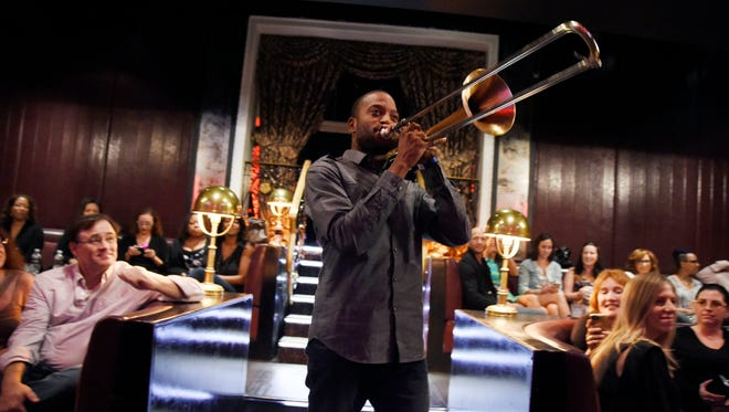 """Troy """"Trombone Shorty"""" Andrews performs at the 57th Annual GRAMMY Awards For Your Consideration Event at the Avalon Theatre in Los Angeles. Andrews said his performance at the Essence Festival is a dream come true."""