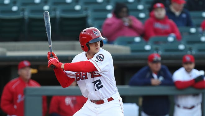 The Louisville Bats' Nick Senzel (12) waited for a pitch during their game against the Columbus Clippers.  He is one of baseball's top prospects.     April 11, 2018