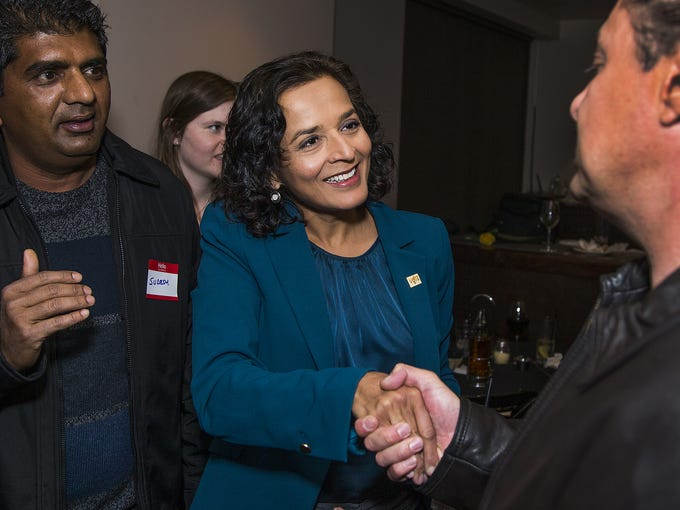 Hiral Tipirneni, greets supporters at her campaign