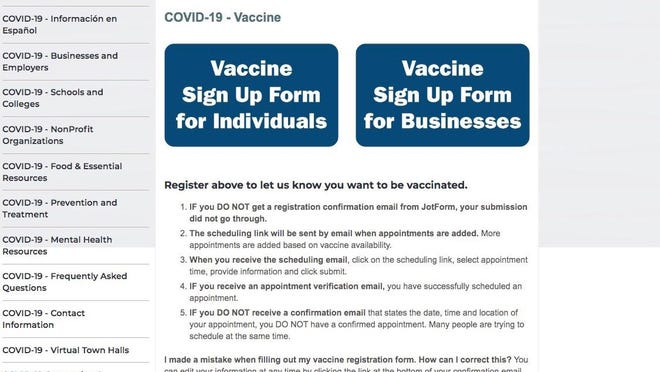 The Lenawee County website for COVID-19 vaccine information is pictured. County officials are asking people and businesses to register to be notified when they can make appointments to be vaccinated.
