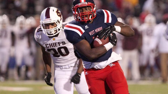 West Monroe plays the Natchitoches Central Chiefs during the Rebels' homecoming game Friday on Don Shows Field at Rebel Stadium. West Monroe finished the regular season as District 2-5A champs after beating the Chiefs 45-7. #NELApreps