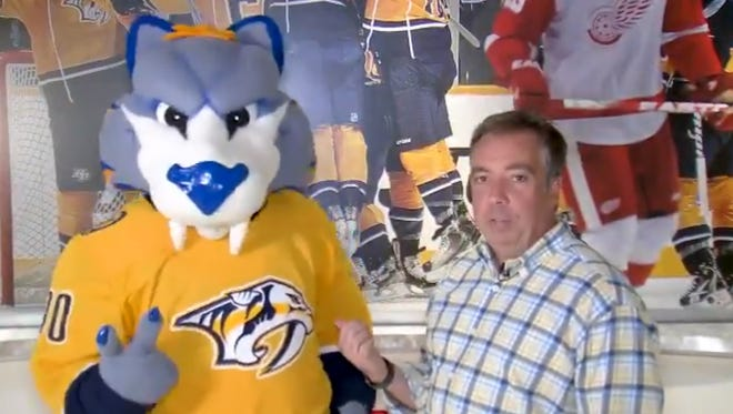 Nashville Predators President and CEO Sean Henry joined by team mascot Gnash in a video endorsement of David Briley for mayor.