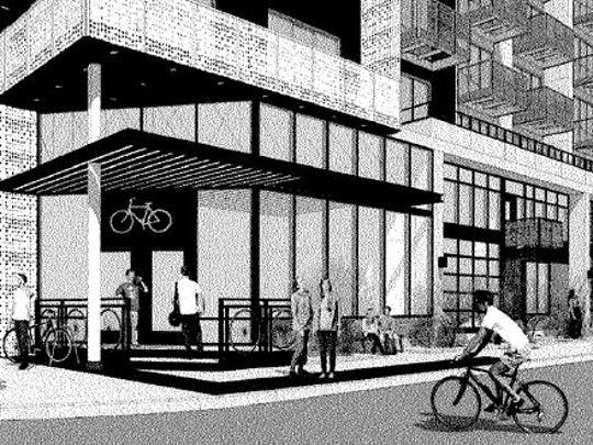 A rendering of the proposed development plans of the 1954 Valley National Bank building in downtown Phoenix.