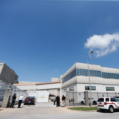 The scene at the Greene County Jail on Thursday, May