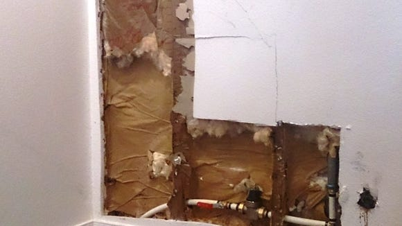 The wall of the DiFiore Center's art gallery was damaged when a pipe burst.