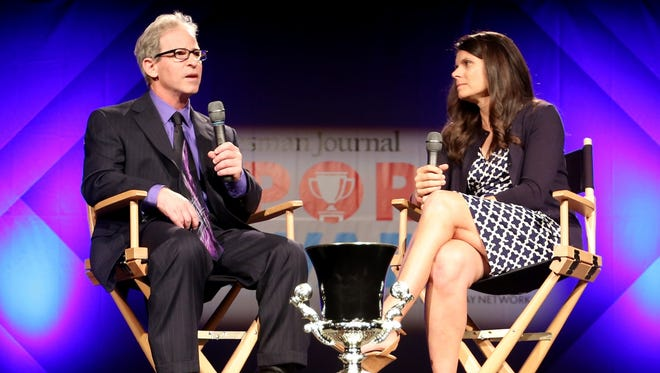 Sports reporter Gary Horowitz interviews soccer star Mia Hamm during the Statesman Journal Sports Awards at the Salem Convention Center on Tuesday, June 6, 2017.
