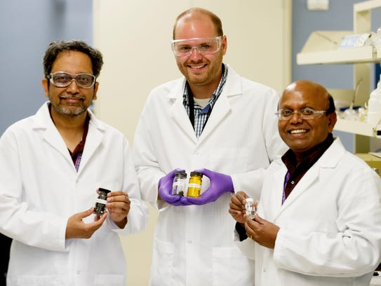 Research group members from left, Dr. Amit Naskar,