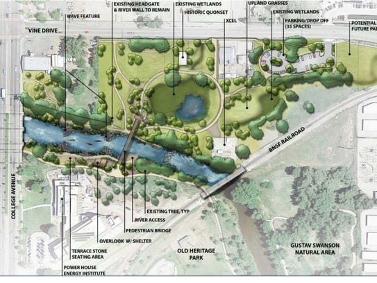 A map of the proposed Downtown Whitewater Park the