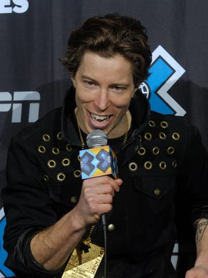 Shaun White speaks to reporters at a press conference after winning the men's snowboard superpipe during the Winter X Games on Jan. 27, 2013.