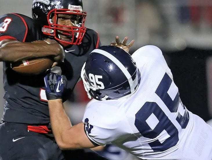 Smithson Valley defensive tackle Cory Singer, making a stop against Wagner, has helped the Rangers win their last fur games.