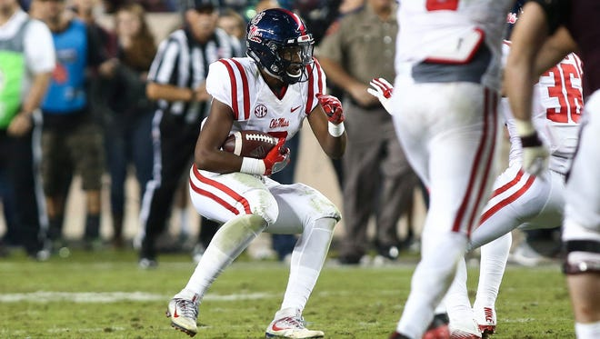 Ole Miss safety Deontay Anderson (2) sealed the Rebels' 29-28 victory over Texas A&M with an interception.