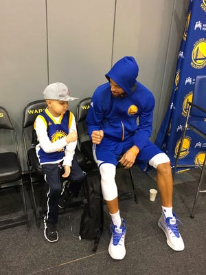 Brody Stephens visited the Warriors and Stephen Curry on April 9, 2017,