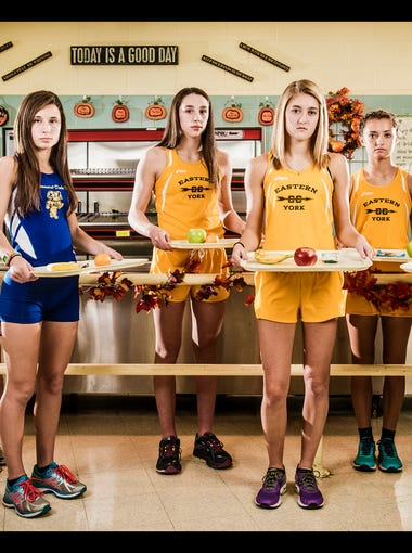 From left to right: Kennard-Dale's Caitlin Salomon, Kennard-Dale's Maddie Ferner, Eastern York's Madison Nalls, Eastern York's Maddie McLain, Eastern York's Olivia McLain and West York's Bethany Weaver.GameTimePA's all-star girls cross-country athletes. Picture taken Tuesday, Nov. 17, 2015, at York Catholic.