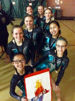 The Woodson YMCA's Level 7 gymnastics team earned first place at the state meet in West Bend.