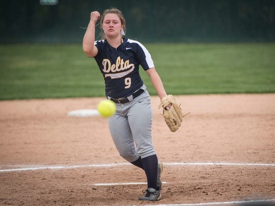 Delta's Natasha Coy, shown here in the Delaware County Tournament, threw a complete game Tuesday to help the Eagles beat Jay County.