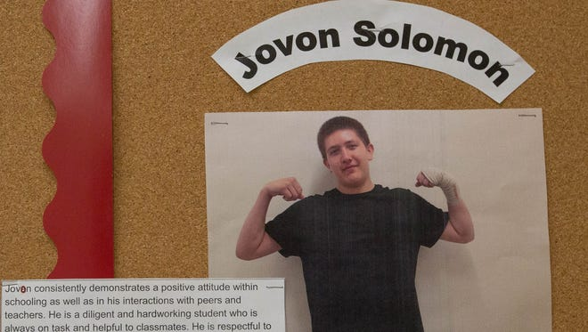 A photo of Jovon Solomon pinned to a bulletin board in Las Montañas Charter High School, where Solomon was recently named student of the month, Tuesday April 24, 2018. Solomon was shot and later died Monday evening . Las Cruces Police are still investigating the murder.