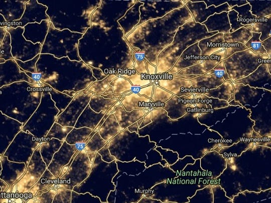 Knoxville's night sky as seen by NASA's Earth Observatory in 2012