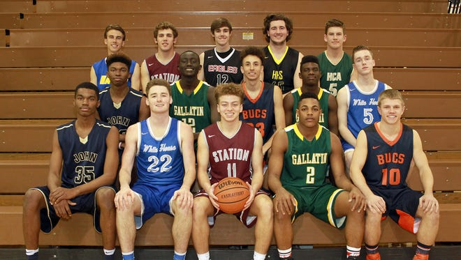 All-Sumner County Boys Basketball Team: (front row, L-R): Devan Cambridge, Pope John Paul II; Bradley Cole, White House; Player of the Year Chase Freeman, Station Camp; Zyun Mason, Gallatin; Ty Dean, Beech; (second row) Jalon Cambridge, Pope John Paul II; Zool Kueth, Gallatin; Jayson Brown, Beech; Octavian Arnold, Gallatin; Jared Ward, White House; (back row) Connor McCutcheon, Merrol Hyde Magnet; Thomas Zazzaro, Station Camp; Lucas Garrison, Westmoreland; Jordan Amis, Hendersonville; Jalen Cole, Hendersonville Christian Academy.