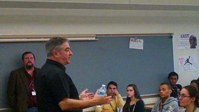 Chief Inspector Dave Annets of the United Kingdom talked to students at South Brunswick High School.