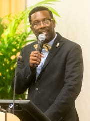 Dr. Jerome Taylor speaks on the Carver Early College High School Program at Cumberland County College on Monday, July 10.