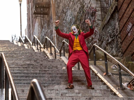 "Joaquin Phoenix dances down a stairway in New York's Bronx borough in a scene from ""Joker."" The set of outdoor steps not far from Yankee Stadium has become a tourist attraction."