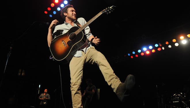 American Idol champ Phillip Phillips performs in the Indiana State Fairgrounds Coliseum Tuesday August 5, 2014.