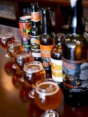 Screamin' Pumpkin, left, Jaw-Jacker Ale, Pumking, Hooligan Hoppy Pumpkin Ale and La Parcela.