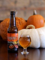 Pumpkin by Southern Tier Brewing. Pumpkin beers photographed on location at 8 Degrees Plato Beer Company on Cass Avenue in Detroit, Tuesday, October 2, 2015.