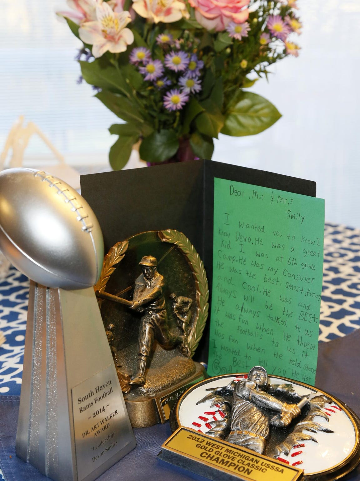 """Some of Devon Smiley's trophies and mementos. """"He is"""
