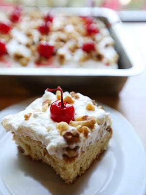 Banana Split Cake is prepared in the Detroit Free Press Test Kitchen in Southfield by Test Kitchen writer Susan Selasky.