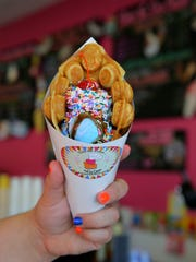 A bubble waffle sundae at Taste the Cakes and Ice Cream in Freehold Township.