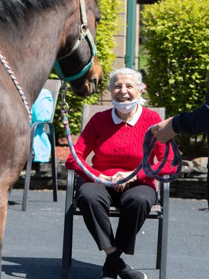 New Windsor Country Inn resident Louise Murphy smiles when she meets 20-year-old horse Bander on Tuesday.