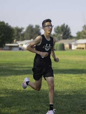Pueblo South High School's Andres Cura maintains the lead during the Colts' home tri-meet on Aug. 21, 2020, at Pueblo South High School.