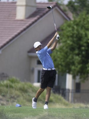 Pueblo West High School's Preston Allen tees off from the fifth hole during the East Invitational at Walking Stick Golf Course on Sept. 15. Allen, a freshman, finished fourth at the tournament.