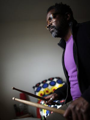 Gerald Cleaver practices in his home in Brooklyn, N.Y. He learned to play violin and trumpet before taking up the drums.