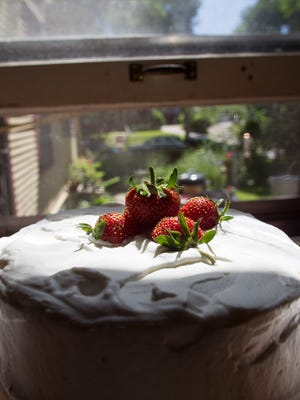 Strawberry mousse cake is seen on Friday, June 13, 2014. David Scrivner / Iowa City Press-Citizen