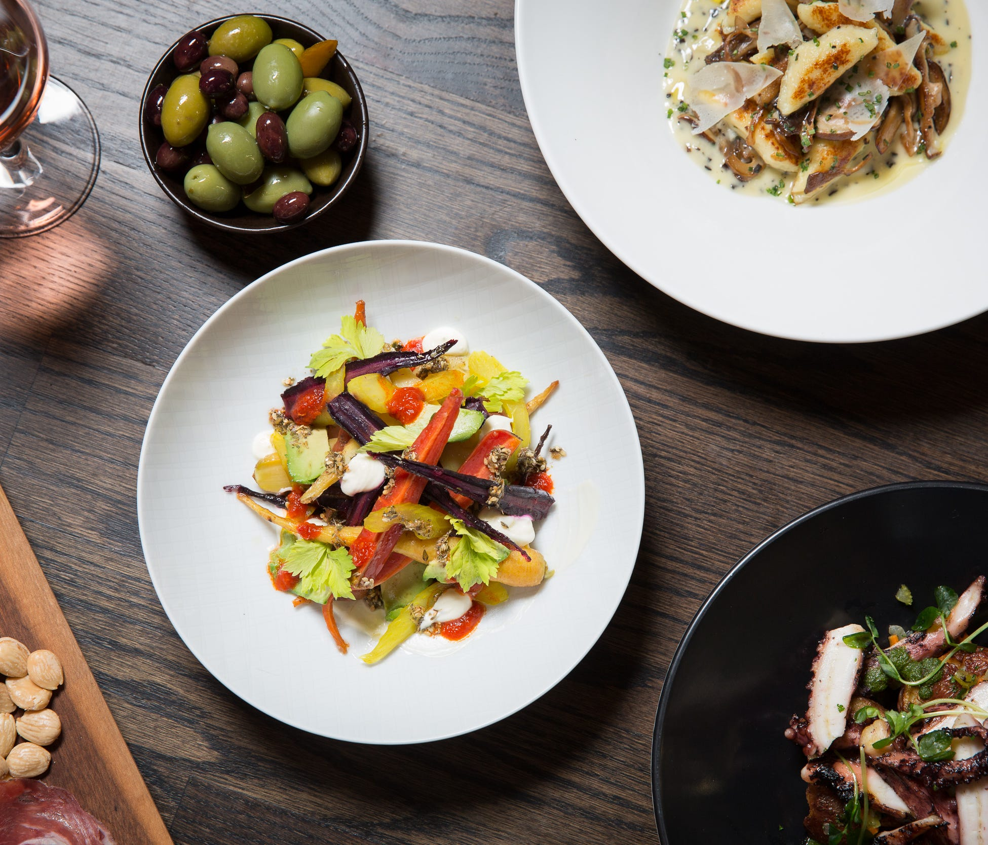 Ella Elli's menu is inspired by Italy, France and Spain with dishes from charcuterie and toasts to vegetables, pizza and pasta.