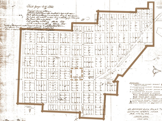 A map showing the original 1861 plat of the St. George city limits. North is to the right, and a block for the Tabernacle meeting area can be seen at the center.