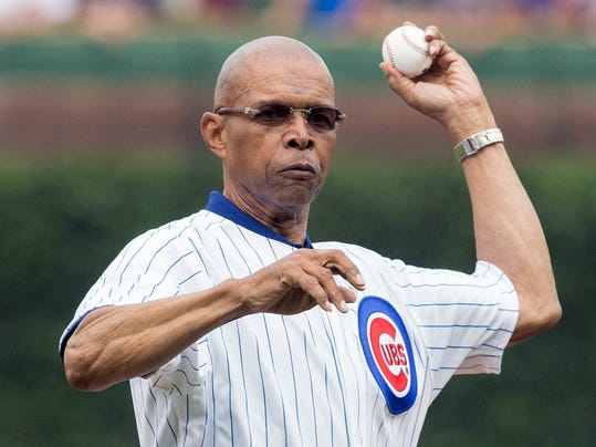 FILE - In this July 11, 2014, file photo, former Chicago Bears NFL football player Gale Sayers throws out a ceremonial first pitch before a baseball game between the Chicago Cubs and Atlanta Braves, in Chicago. Relatives of Pro Football Hall of Famer Gale Sayers say the Bears legend has been diagnosed with dementia. His wife, Ardythe Sayers, tells The Kansas City Star that her 73-year-old husband was diagnosed four years ago and she blames Sayers' football career. He played for the Bears from 1965-71 after setting records at the University of Kansas.(AP Photo/Andrew A. Nelles)