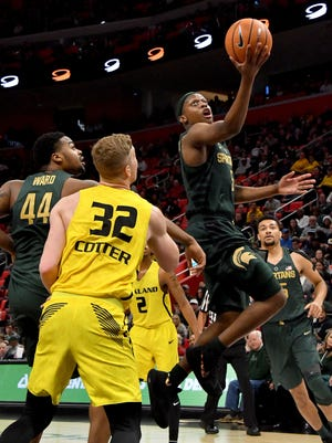 Spartan Cassius Winston lead the team with 19 points including two on this play in the second half.