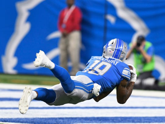 Lions rookie receiver Kenny Golladay makes a diving catch for a 45-yard touchdown against the Cardinals late in the fourth quarter of the Lions' 35-23 win Sunday, Sept. 10, 2017 at Ford Field.