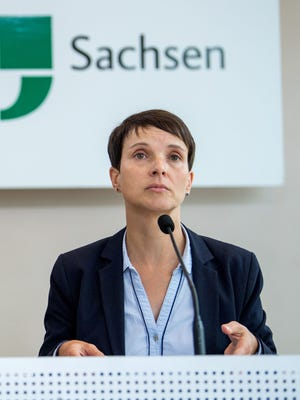 Frauke Petry, a leader of Germany's far-right Alternative for Germany (AfD) party, holds a news conference at the regional parliament of Saxony in Dresden, eastern Germany, on Sept. 26, 2017.