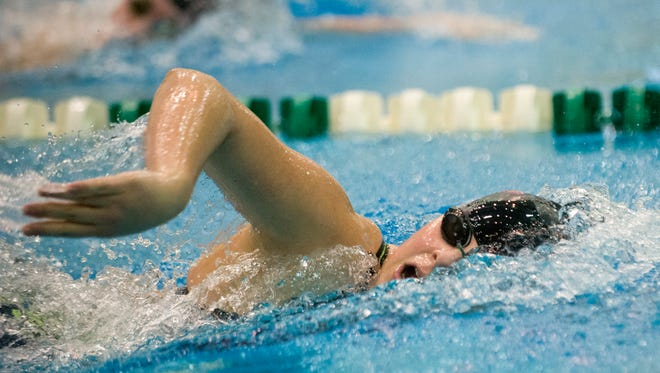 St. Clair swimmer Lola Laenen competes in the 200 Yard Freestyle at the state swim meet at Eastern Michigan University in Ypsilanti, Mich. on Saturday, Nov. 21, 2015.