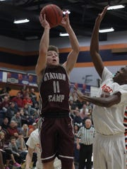 Station's Camp's Chase Freeman shoots against Beech