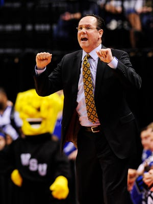 Wichita State Shockers head coach Gregg Marshall reacts against the Dayton Flyers during the first half in the first round of the 2017 NCAA Tournament at Bankers Life Fieldhouse.