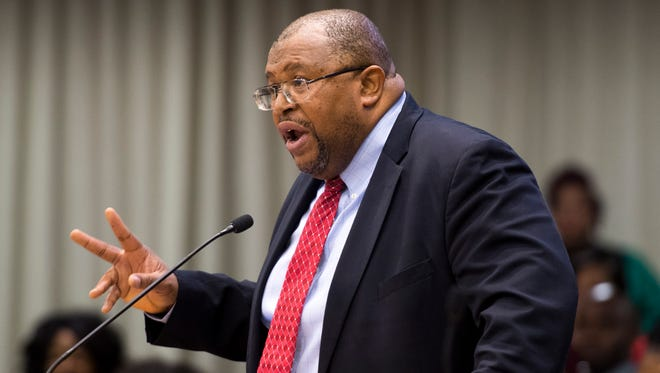 The Rev. John Butler, Knoxville NAACP president, speaks at the Knox County School's Board of Education work session meeting at the City-County Building on April 9.